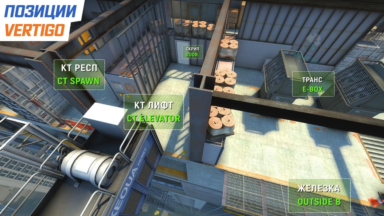 Позиции на карте Vertigo в CS:GO