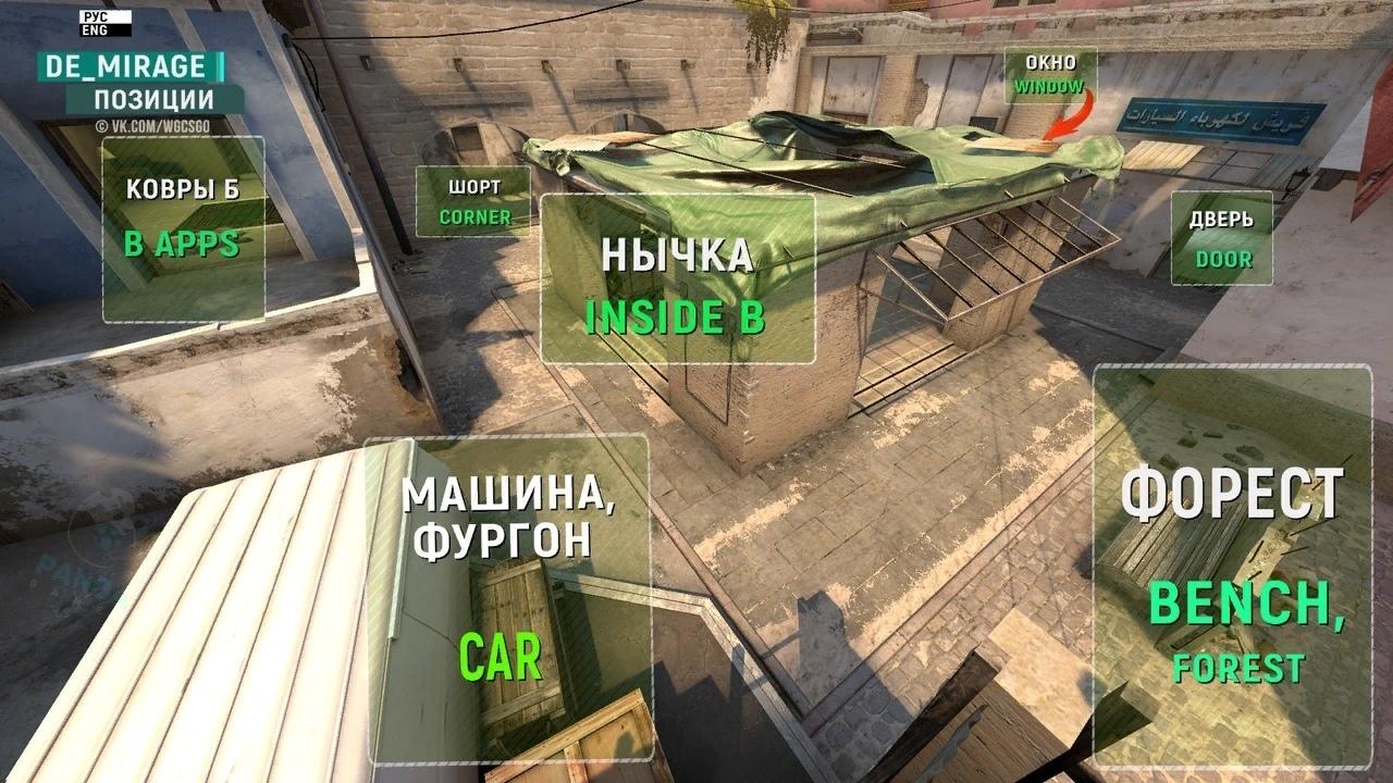 Позиции на карте de_mirage в CS:GO